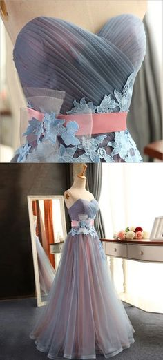 Blue party dress strapless evening dress tulle applique long prom dress - All For New Hairstyles Strapless Party Dress, Blue Party Dress, Elegant Prom Dresses, Half Sleeve Dresses, Prom Dresses With Sleeves, Party Dresses, Off Shoulder Evening Dress, Sexy Evening Dress, Lace Evening Dresses