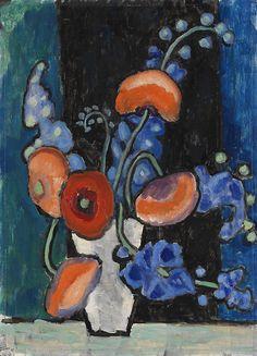 blastedheath:  Gabriele Münter (German, 1877-1962), Blumenbild vor blauschwarzem Grund [Flowers on a blue-black background], c.1935-40. Oil ...
