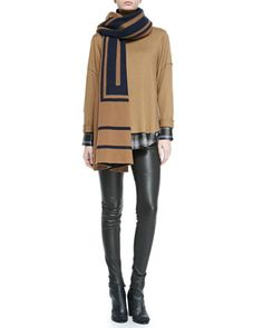 Leather-Trim Plaid Shirt, Cashmere Jacquard Scarf, Wool Rolled-Sleeve Tee & Smooth Leather Leggings by Vince at Neiman Marcus.