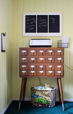 small card catalog on legs