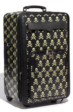 Skull and Crossbones Print Luggage