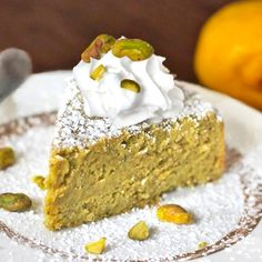 Healthy Lemon Pistachio Cake made with WHOLE lemons! Only 7 ingredients, no butter or oil, no refined white sugar or corn syrup, and it's naturally gluten free and high protein! You'd never know this cake is good for you.