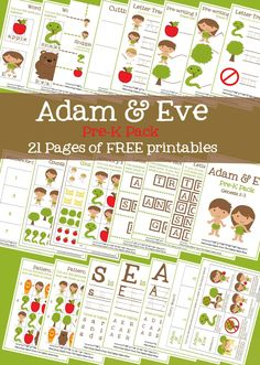 Adam & Eve Pre-K Pack (Free Printables!) 21 pages of free printable Adam and Eve activities for preschoolers for Sunday school or home Preschool Bible Lessons, Bible School Crafts, Bible Lessons For Kids, Bible Activities, Bible For Kids, Bible Crafts, Preschool Worksheets, Preschool Activities, Sabbath Activities