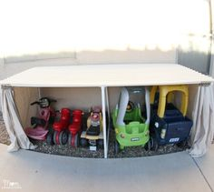 Make a mini garage for kid-sized cars. | 42 Storage Ideas That Will Organize Your Entire House