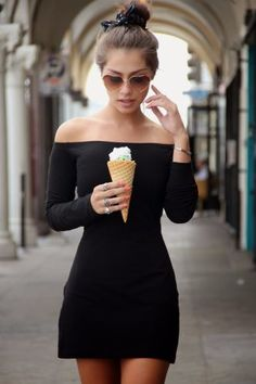 Off Shoulder min Black Dress Cute Dresses, Beautiful Dresses, Cute Outfits, Casual Outfits, Fashion Beauty, Fashion Looks, Casual Looks, Dress To Impress, Marie