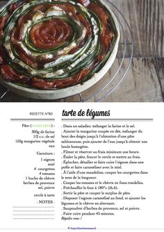 Carton Recette n°90 Tourbillon, Charlotte, Vegetable Tart, Cooking Food, Recipes