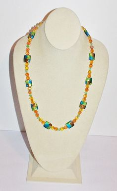 Dichroic Necklace Blue Green and Gold Beads     by SCLadyDiJewelry
