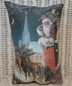 "CHRISTMAS HOLIDAY 10"" X 7"" PILLOW SANTA COMING OUT THE CHIMNEY -STUFFING FILLER"