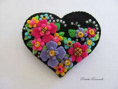 Felt Heart Pin / Felt Heart Brooch. $25.00, via Etsy.
