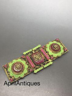 Vintage art deco Czech Neiger Green Enamel Red glass brooch