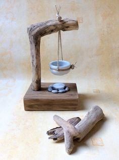 Brûle parfum céramique et bois flotté par l'Atelier de Corinne : Accessoires de maison par atelier-de-corinne