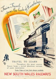 New South Wales Travel Poster: New South Wales Railways, by gina Train Posters, Railway Posters, Vintage Advertising Posters, Vintage Travel Posters, Retro Posters, Bus Travel, Train Travel, Orient Express Train, Posters Australia
