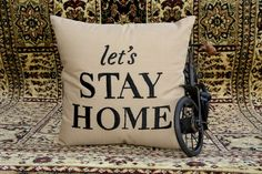 Lets Stay Home Pillow Decorative Pillow Typography by NeaPillows