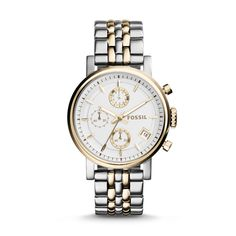 Fossil Original Boyfriend Chronograph Stainless Steel Watch – Two-Tone