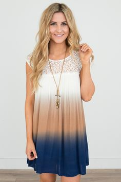Shop our Lace Trim Dip Dye Dress in Ivory/Navy/Tan. Free shipping on all US orders!