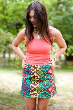 Love the pattern and color of this skirt! a little too short of a style for my comfort... A few more inches on the bottom :)
