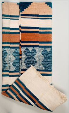 Africa | Kpokpo cloth (aka. country cloth or Kondi gula in Mende) from the Mende people of Sierra Leone | Cotton; woven into strips on a tripod loom  then sewn together | Pre 1960