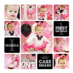 1st birthday baby girl | Minnie Mouse | cake smash