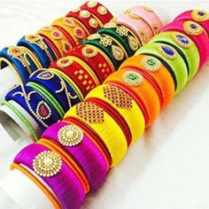 Manufacturer of silk thread jewelries in Indian Ethnic Designs. All silk thread jewelry are handmade and can be customised as per the customer requirement. Silk Thread Bangles Design, Silk Thread Necklace, Silk Bangles, Bridal Bangles, Thread Jewellery, Jewellery Designs, Jewelry Trends, Anniversary Gift For Her, Wedding Anniversary Gifts