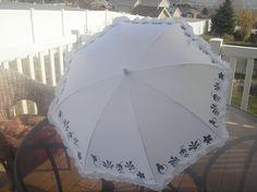 Personalized White  ruffled umbrella by LoRensRainorShine on Etsy