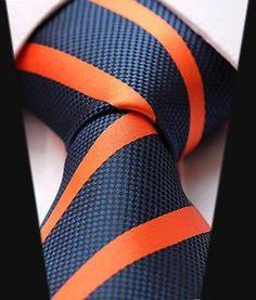 Striped navy orange tie