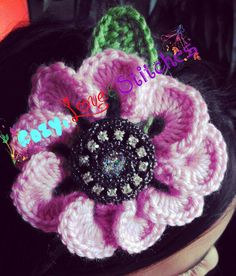 Crochet flower headband.