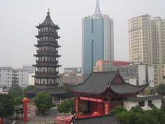 Nanchang, China -- our hotel. Our window faced this round pavilion. It is here that we met our daughter for the first time!