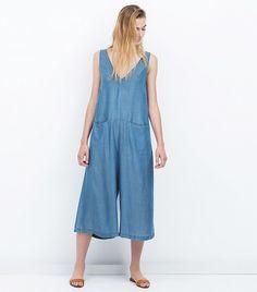 Zara Flowing Jumpsuit // Wide leg denim jumpsuit
