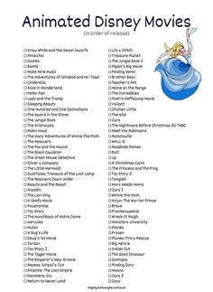 List of Disney animated movies Snow White and the Seven Dwarfs Pinocchio Dumbo Bambi Cinderella Alice in Wonderland Peter Pan The Little Mermaid Beauty and the Beast Aladdin The Lion King Toy Story and so many more Disney animated movies! Movie To Watch List, Disney Movies To Watch, Movie List, Best Disney Pixar Movies, Disney Movies By Year, List Of Movies, Dreamworks Movies List, Classic Disney Movies, Disney Songs