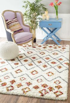 NuLOOM Cicely Shaggy Rug White