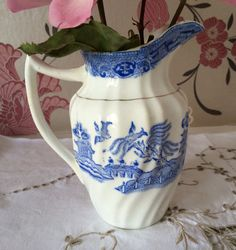 Lovely Antique Blue and White Milk by florenceforeverfinds on Etsy