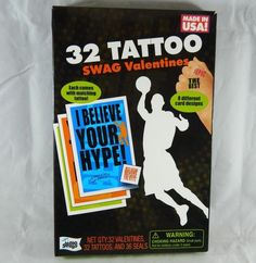32 Count Tattoo Swag Valentines Day Cards Includes Seals School Party