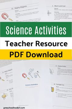 Preschool science digital resource Science Experiments For Preschoolers, Preschool Science Activities, Easy Science, Science Resources, Science For Kids, Teacher Resources, Science Programs, Childhood Education, Cover Pages