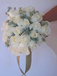Silver and White Winter Wedding | Flower Arrangements - Winter Flowers - White Rose Bouquet