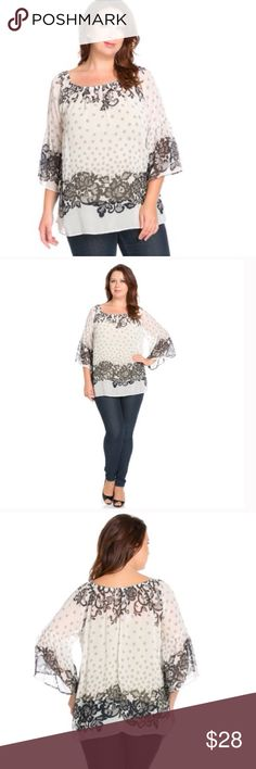 🐝 Gorgeous plus sheer top 🐝 Beautiful sheer top. Off the shoulder design. Bell style sleeves. Feels like silk, but 100% polyester for easy care. The Blossom Apparel Tops Blouses