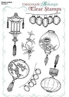 Chinese Lanterns Unmounted Clear stamp sheet - A5 (C) Chocolate Baroque