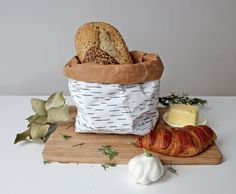Bread bag bread basket Birch bark design by WarmGreyCompany