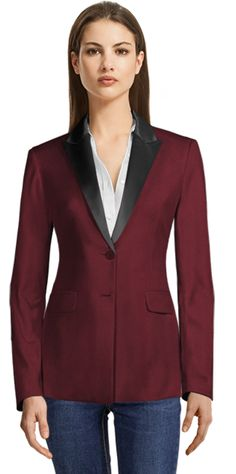 Burgundy Single Breasted Blazer with Grey Shiny Lapels Suit Jackets For Women, Blazers For Women, Suits For Women, Clothes For Women, Casual Blazer, Business Rock, Design Your Shirt, Blazer Outfits For Women, Burgundy Blazer