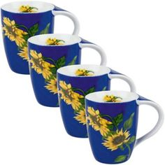Konitz Sunflower Mugs (Set of 4) - BedBathandBeyond.com