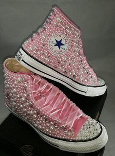 Breast Cancer Custom Converse Pink Ribbon Bling & Pearls Sparkly Converse, Converse Wedding Shoes, Custom Converse, Prom Shoes, Custom Shoes, Converse Shoes, Wedding Sneakers, Bedazzled Shoes, Bling Shoes