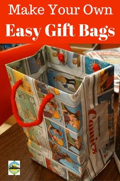 Don't waste money on gift bags, make these great and easy gift bags yourself! to put in gift bag make your own gift bags Creative Gift Wrapping, Wrapping Ideas, Creative Gifts, Paper Gift Bags, Paper Gifts, Diy Paper, Kids Gift Bags, Paper Bag Crafts, Cheap Gift Bags
