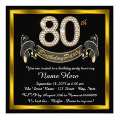Elegant Gold 80th Birthday Party Card 60th Invitations 90th Parties Adult