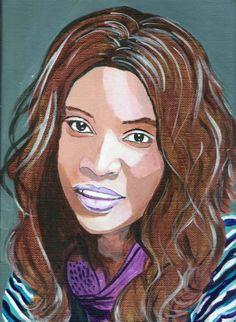 portrait de jeune femme à la peinture acrylique