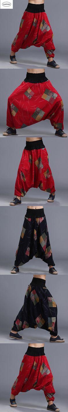 Print Cotton Pants Men Summer Loose Casual Cross-Pants Elastic Waist Long Trousers Ethnic Harem Pants Wide Leg Trousers