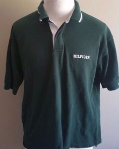 Men's Vintage Tommy Hilfiger Short Sleeve Green Polo Spelled Out #TommyHilfiger #PoloRugby