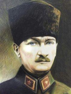 Atatürk Portre 35×50 kağıt üzerine kuru boya