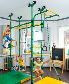 Amazon.com: PEGAS: Children's indoor home gym Swedish Wall Playground Set Gymnastic ladder Horizontal bar moving Gymnastic Rings Trapeze Climbing Rope Horizontal bars Hole snake Basketball Swing Gyms Climber: Toys & Games