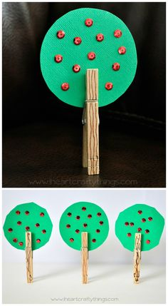 Clothespin Apple Tree Craft for preschoolers and kids. from iheartcraftythings.com