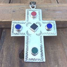 MULTI-STONE Sterling Silver CROSS Mexico Large Azurite Stamped Pendant Vintage