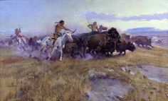 """When Meat was Plenty"" ~ Charles M. Russell Charles Marion Russell (Born 1864, Oak Hill, Missouri - Died 1926, Great Falls, Montana), also known as C. M. Russell, was one of the great artists of the American West. Russell created more than 2,000 paintings of cowboys, Indians, and landscapes set in the Western United States, in addition to bronze sculptures."